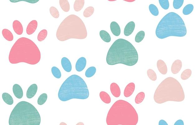 Simpatico motivo luminoso senza cuciture con zampa di animale domestico strutturata a matita pastello in colori pastello