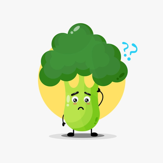 Simpatico personaggio di broccoli confuso
