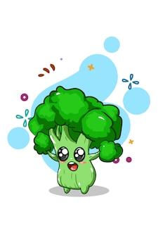 Illustrazione sveglia della mano dell'illustrazione dei broccoli