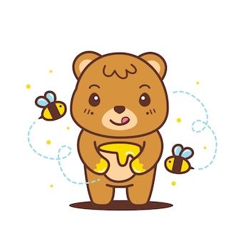 Orso bruno sveglio che tiene l'illustrazione del barattolo di miele
