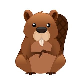 Disegno animale del fumetto del castoro marrone sveglio