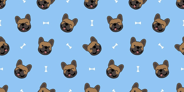 Modello senza cuciture del fumetto del fronte sveglio del bulldog francese marrone, illustrazione vettoriale