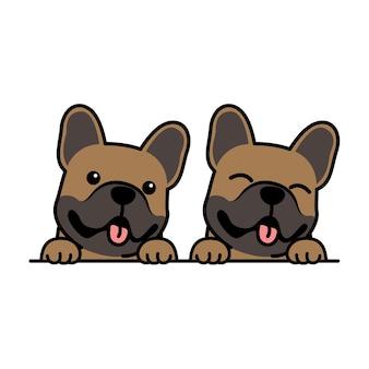 Simpatico cartone animato marrone cucciolo di bulldog francese, illustrazione vettoriale Vettore Premium