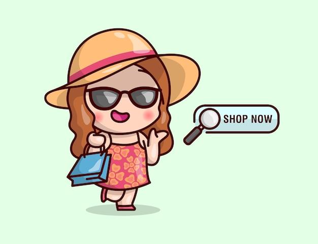 Donna sveglia dei capelli marroni che porta occhiali da sole e cappello di paglia. illustreation dello shoping online.