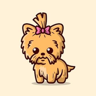 Cucciolo di terrier marrone sveglio con un nastro rosa sulla sua illustrazione del fumetto della testa