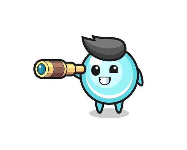 Il simpatico personaggio a bolle tiene in mano un vecchio telescopio, un design in stile carino per maglietta, adesivo, elemento logo
