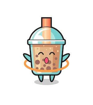 Simpatico cartone animato bubble tea sta giocando a hula hoop, design in stile carino per maglietta, adesivo, elemento logo