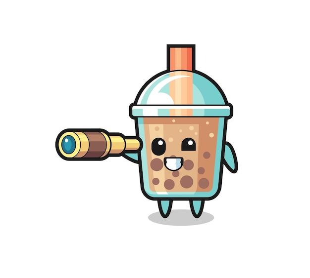 Il simpatico personaggio del bubble tea tiene in mano un vecchio telescopio, un design in stile carino per maglietta, adesivo, elemento logo