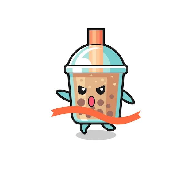La simpatica illustrazione del bubble tea sta raggiungendo il traguardo, il design in stile carino per t-shirt, adesivo, elemento logo