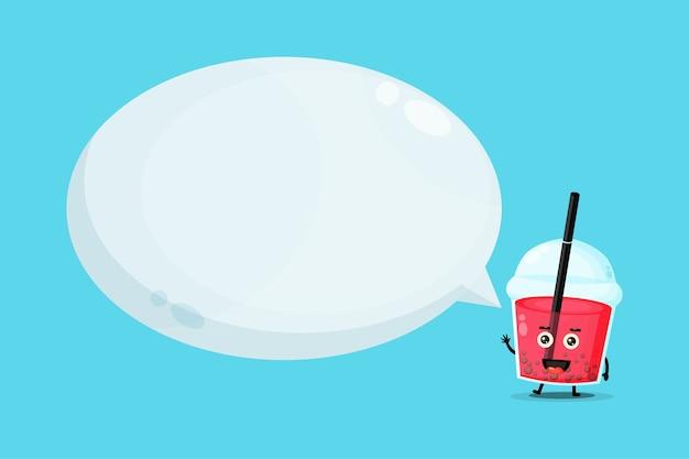Mascotte sveglia del tè della bolla con il discorso della bolla