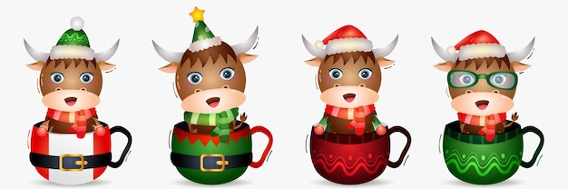 Simpatica collezione di personaggi natalizi di bufalo con un cappello