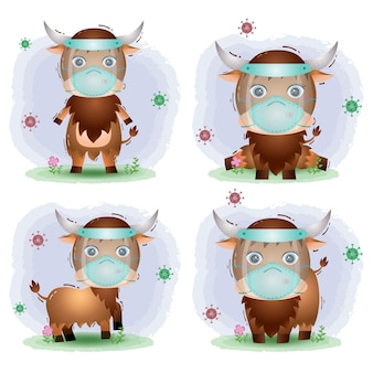 Bufalo carino con visiera e collezione di maschere