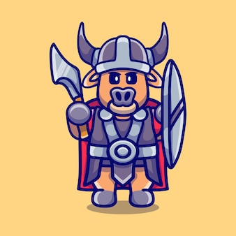 Simpatico bufalo vichingo con ascia e scudo