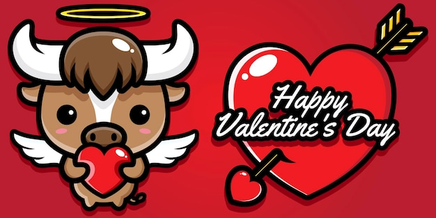 Bufalo carino con auguri di san valentino