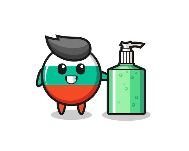 Simpatico cartone animato distintivo bandiera bulgaria con disinfettante per le mani, design in stile carino per maglietta, adesivo, elemento logo