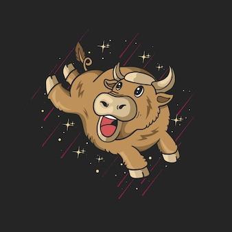 Simpatico cartone animato di toro che salta su sfondo nero con stelle