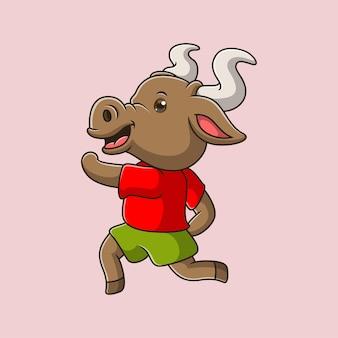 Cartone animato carino toro in esecuzione