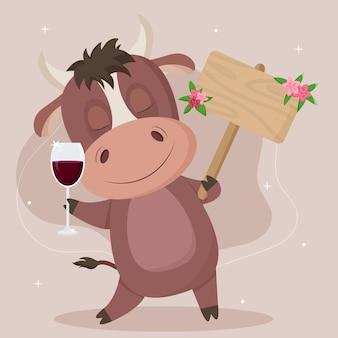 Simpatico toro in stile cartone animato con un cartello per posizionare il testo, con un bicchiere di vino. illustrazione vettoriale isolato su sfondo bianco.