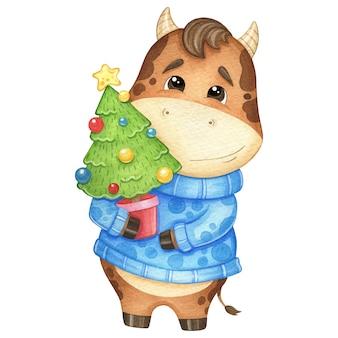 Toro carino in un maglione e con un albero di natale. illustrazione dell'acquerello
