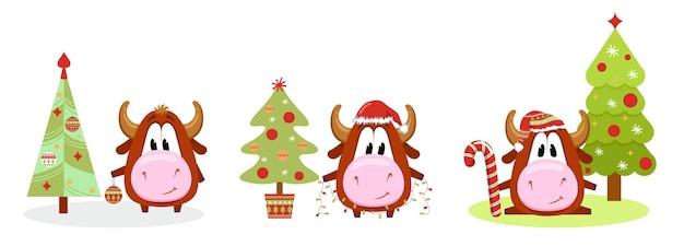 Simpatico simbolo del toro dell'anno 2021 impostato. mucca. set di natale. segno dell'oroscopo del bue. anno cinese del bue 2021.