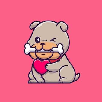 Carino bulldog morso osso e holding cuore personaggio dei cartoni animati. natura animale isolata.