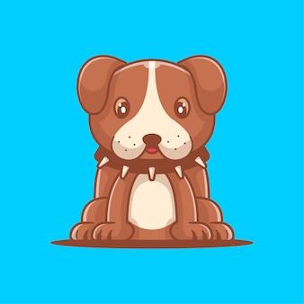 Illustrazione di vettore del fumetto sveglio del bulldog. concetto della giornata mondiale degli animali