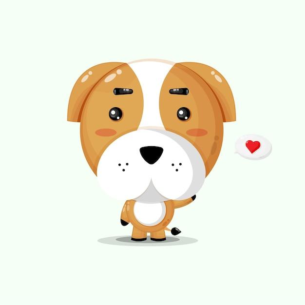 Simpatico personaggio di bulldog che saluta