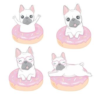 Bulldog carino e una ciambella su uno sfondo bianco isolato. illustrazione,