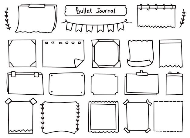 Set di doodle carino diario e note proiettile