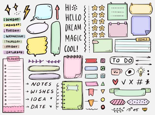 Note di diario di proiettile carino da fare raccolta di doodle di disegno elenco