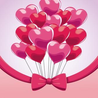 Arco rosa del cuore dei palloni del mazzo sveglio
