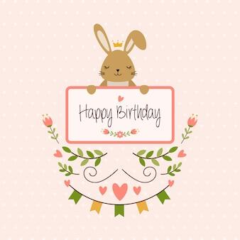 Buon compleanno di bunnny vector illustration greetings sveglio