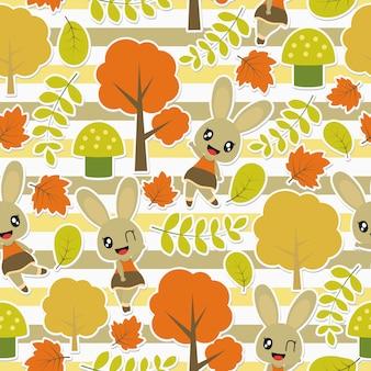 Simpatico coniglietto e pattern di elementi autunnali
