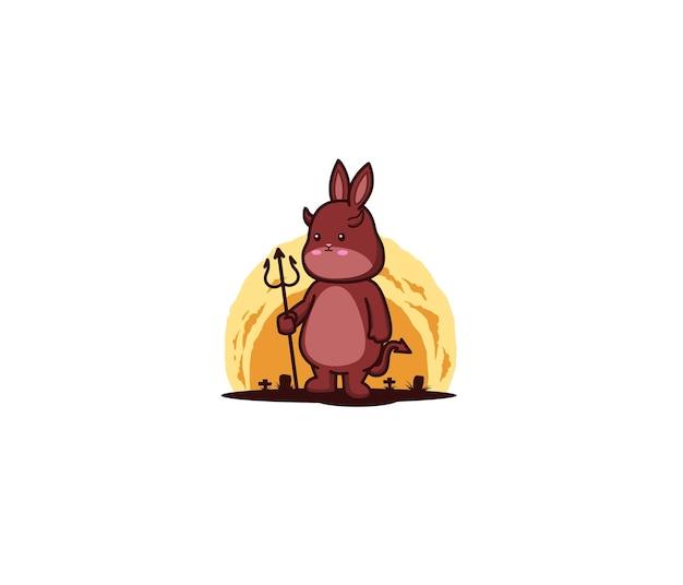 Simpatico coniglietto che è un diavolo con in mano un tridente