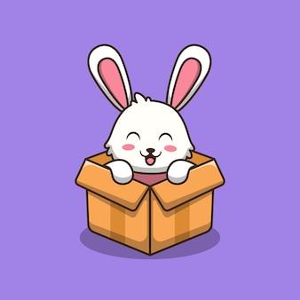 Coniglietto sveglio nell'illustrazione del fumetto della scatola