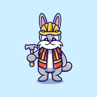 Simpatico coniglietto che trasporta martello