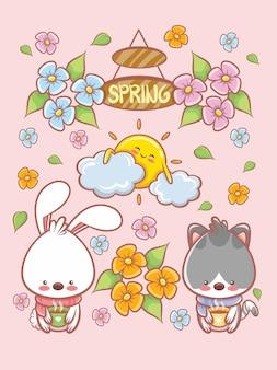 Simpatico coniglietto e gatti elemento primaverile personaggio dei cartoni animati e carta di illustrazione. concetto di