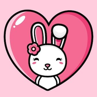 Simpatico coniglietto carattere disegno vettoriale