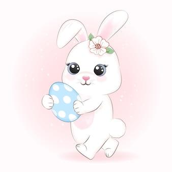 Simpatico coniglietto e uovo, concetto di giorno di pasqua