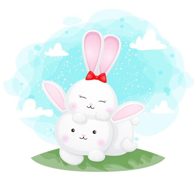 Coniglietto sveglio che gode del giro sulle spalle sulla schiena, illustrazione del personaggio dei cartoni animati vettore premium