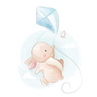 Simpatico coniglietto che vola con un aquilone