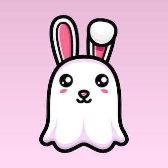 Simpatico design del personaggio del fantasma del coniglietto