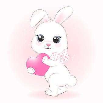 Illustrazione dell'acquerello animale del fumetto del cuore e del coniglietto sveglio
