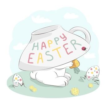 Simpatico coniglietto che si nasconde sotto la tazza di tè che tiene la carota e le uova di pasqua. illustrazione disegnata a mano del fumetto