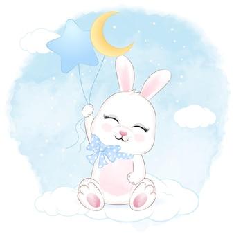Simpatico coniglietto che tiene e palloncini sulla nuvola