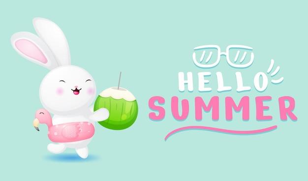 Simpatico coniglietto che tiene in mano una noce di cocco con banner di auguri estivi