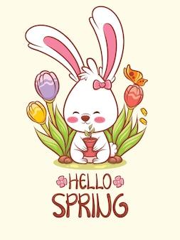 Simpatico coniglietto che tiene un vaso di fiori con fiori primaverili. illustrazione del personaggio dei cartoni animati ciao concetto di primavera.