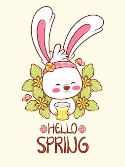 Simpatico coniglietto che tiene un succo d'arancia con fiori primaverili. illustrazione del personaggio dei cartoni animati ciao concetto di primavera.