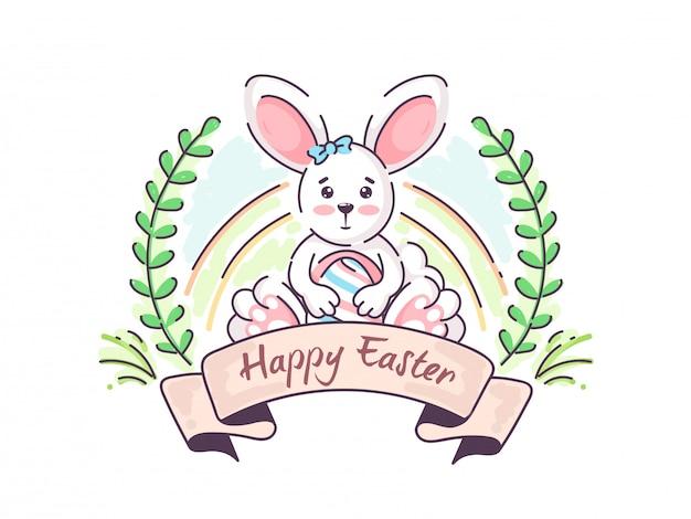 Uovo stampato tenuta sveglia del coniglietto con le foglie verdi su fondo bianco, carta di pasqua felice