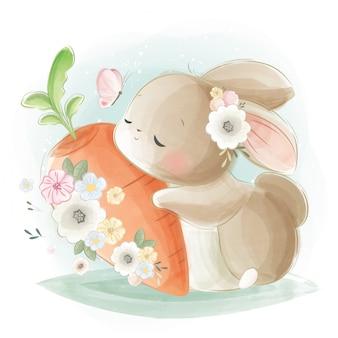 Simpatico coniglietto che abbraccia una carota grande